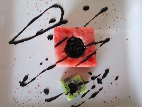 Watermelon Kiwi Balsamic Salad