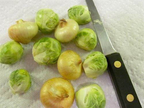 Cipollini Onions and Brussels Sprouts