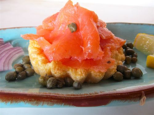 smoked salmon on puffy omelettes